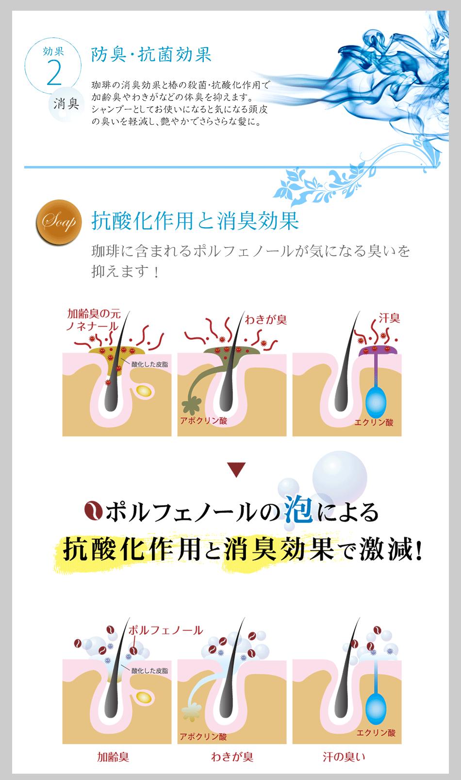 2.防臭・抗菌効果 抗酸化作用と消臭効果 珈琲に含まれるポルフェノールが気になる臭いを抑えます!