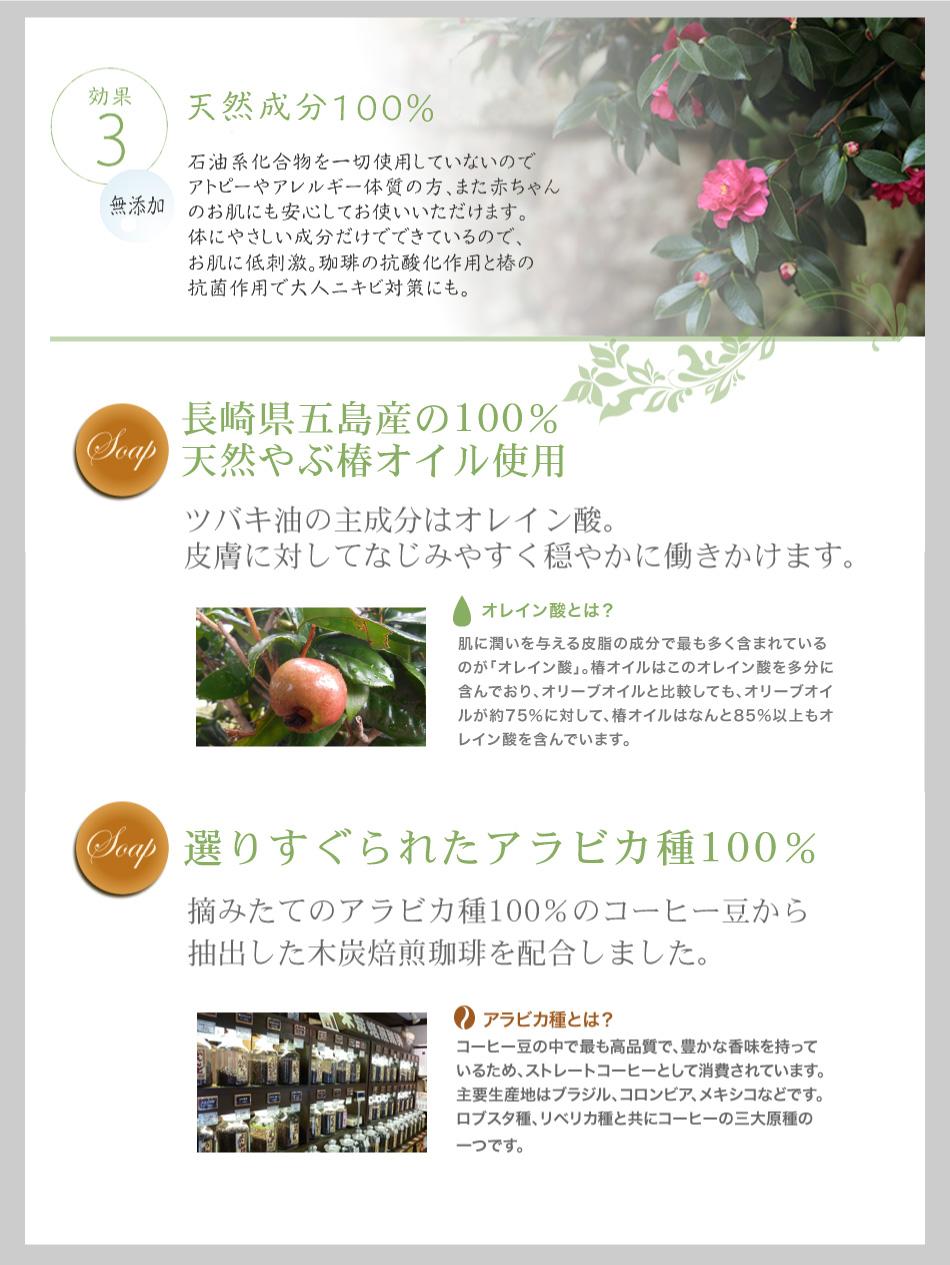 3.天然成分100% 長崎県五島産の100%天然やぶ椿オイル使用 選りすぐられたアラビカ種100%