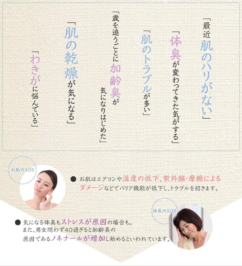 最近肌のハリがない・体臭が変わってきた気がする・肌のトラブルが多い・歳を追うごとに加齢臭が気になりはじめた・肌の乾燥が気になる・わきがに悩んでいる